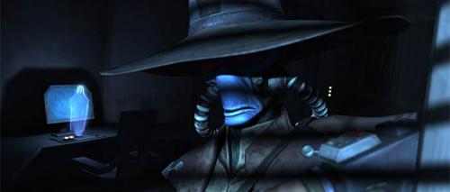 Darth Sidious (hinten) kontaktiert Cad Bane in dessen Versteck auf Coruscant