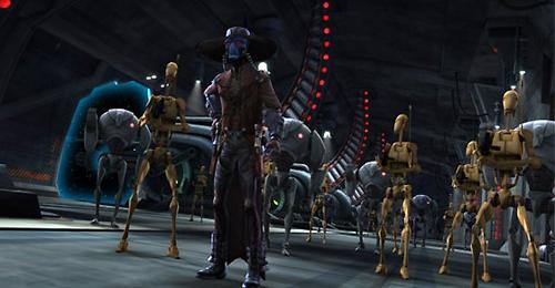 Cad Bane erwartet mit seinen Kampfdroiden die Jedi und deren Klonsoldaten.