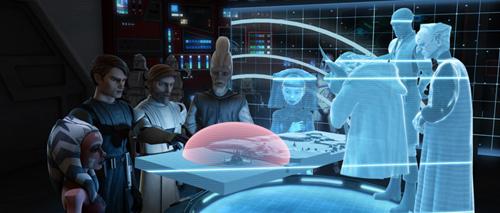 Die Jedi und Kanzler Palpatine bei der Einsatzbesprechung.
