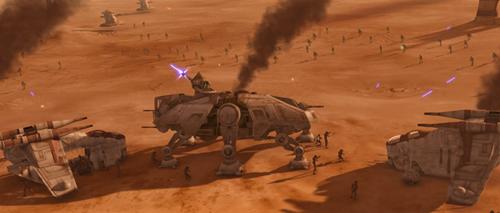 Die Verteidigungsstellung der Klontruppen nach der Invasion.