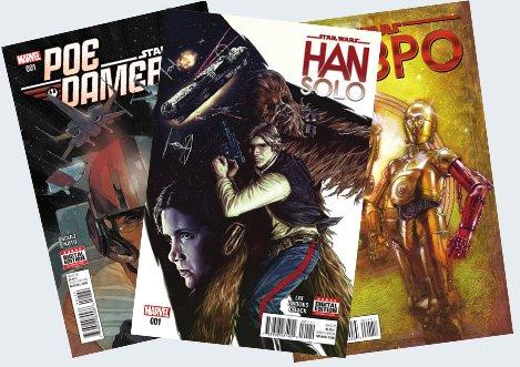 Poe Dameron, Han Solo, C-3PO - Cover
