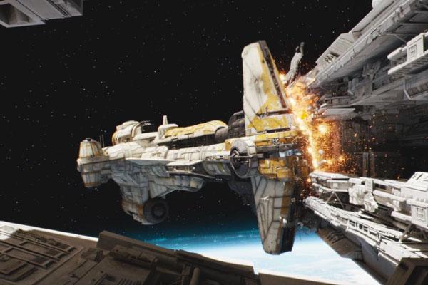 Rogue One: Die Hammerhead-Korvette rammt den Sternenzerstörer