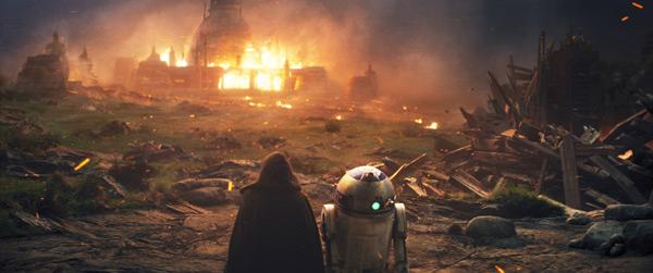 Luke und R2 blicken auf Lukes brennende Jedi-Akademie