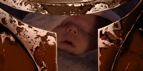 Ein Mando und ein Baby