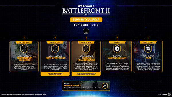Star Wars Battlefront II: Community Kalender September 2019