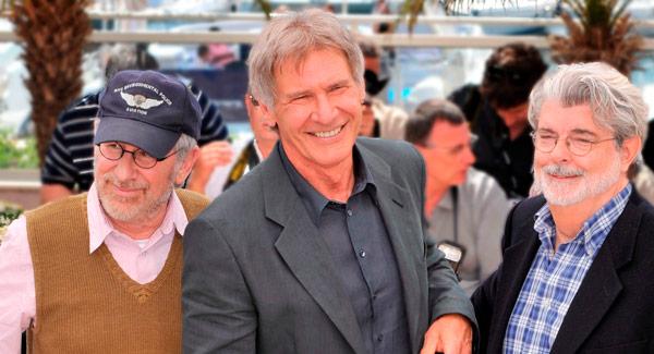 Steven Spielberg, Harrison Ford und George Lucas bei der Premiere von Indiana Jones 4 in Cannes 2008